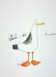Harbour Bird Sketch V by Rebecca Lardner -  sized 10x11 inches. Available from Whitewall Galleries